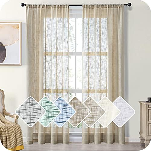 MRTREES Gardinen kurz 2er-Set LeinenVorhang im Modernen Stores Gardinen Schals Braun 245×140 (H×B) für Wohnzimmer Schlafzimmer Kinderzimmer
