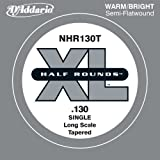 D'Addario NHR130T Half Round Bass Guitar Single String, Long Scale .130, Tapered