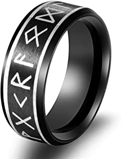 Gothic Rings Alchemy Viking Ring Rune Odin Norse Jewelry for Men - Nickel Free