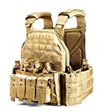 WEERUN Tactical Vest Mens Military Plate Carrier Vest Adjustable Molle Tactical Vest Combat