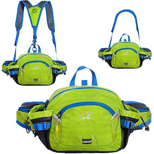 SINOKAL Multifunktionaler Taillenbeutel im Stil von Militär Leinwand Taillen Pack Tasche Wasserabweisende Bauchtasche mit Wasser Flaschenhalter für Laufen Wandern Radfahren Klettern Camping Reisen