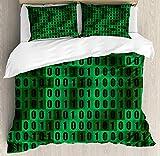Juego de funda nórdica para programador, bits de datos de computadora Proceso de impresión de código de programación binario verdoso, juego de cama decorativo de 3 piezas con 2 fundas de almohada, ver