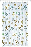 Blu-Pier Tech Decorative PEVA Mildew Free Water Repellant Shower Curtain 72x72 Comes With 12 Hooks (Starfish and Sea Shells)