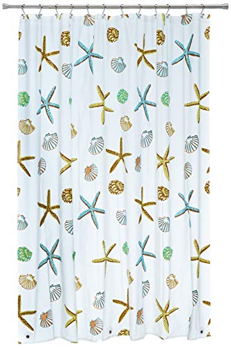 Blu-Pier Tech Decorative PEVA Mildew Free Water Repellant Shower Curtain 72x72 Comes with 12 Hooks...