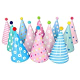 pink birthday cone hats - Beurio Kids Happy Birthday Paper Party Cone Hats with Pom Poms, 12ct