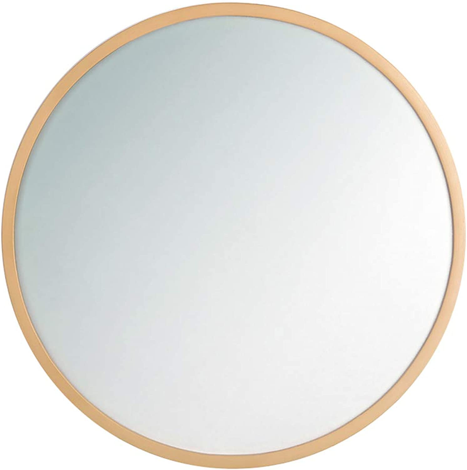 Round Bathroom Wall Mirror Circle Wood Frame Makeup Large Vanity Shaving Home Living Room Concise Bedroom Contemporary (11.8 inch - 31.5 inch)