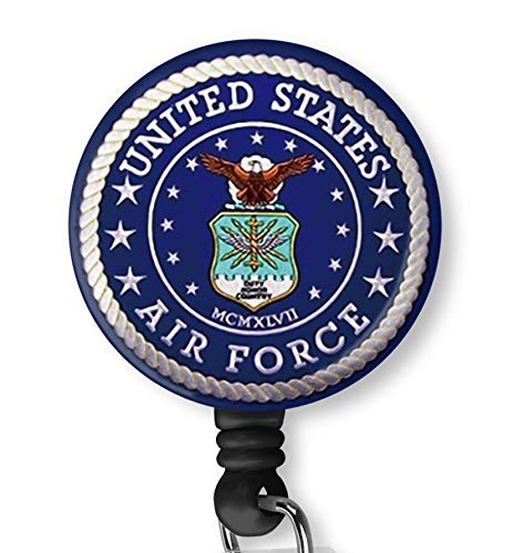 U.S. Air Force USAF Retractable ID Card Badge Holder with Alligator Clip, Name Nurse Decorative Badge Reel Clip on Card Holders