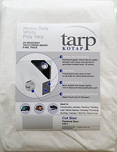 Kotap TRW-1225 Heavy-Duty 8-mil Poly Tarp with UV Protection, 12 x 25-Foot, White