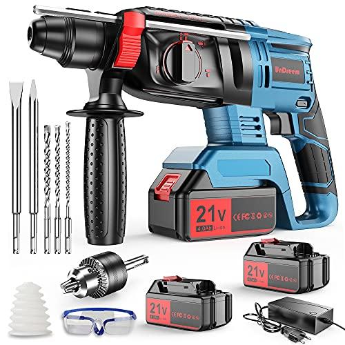Martillo Perforador a batería, undreeem Martillo perforador 21V con 2 baterías de 4000mAh, 4 funciones en 1, adaptador SDS Plus (con portabrocas, para martillos perforadores), 3 brocas, 2 cinceles