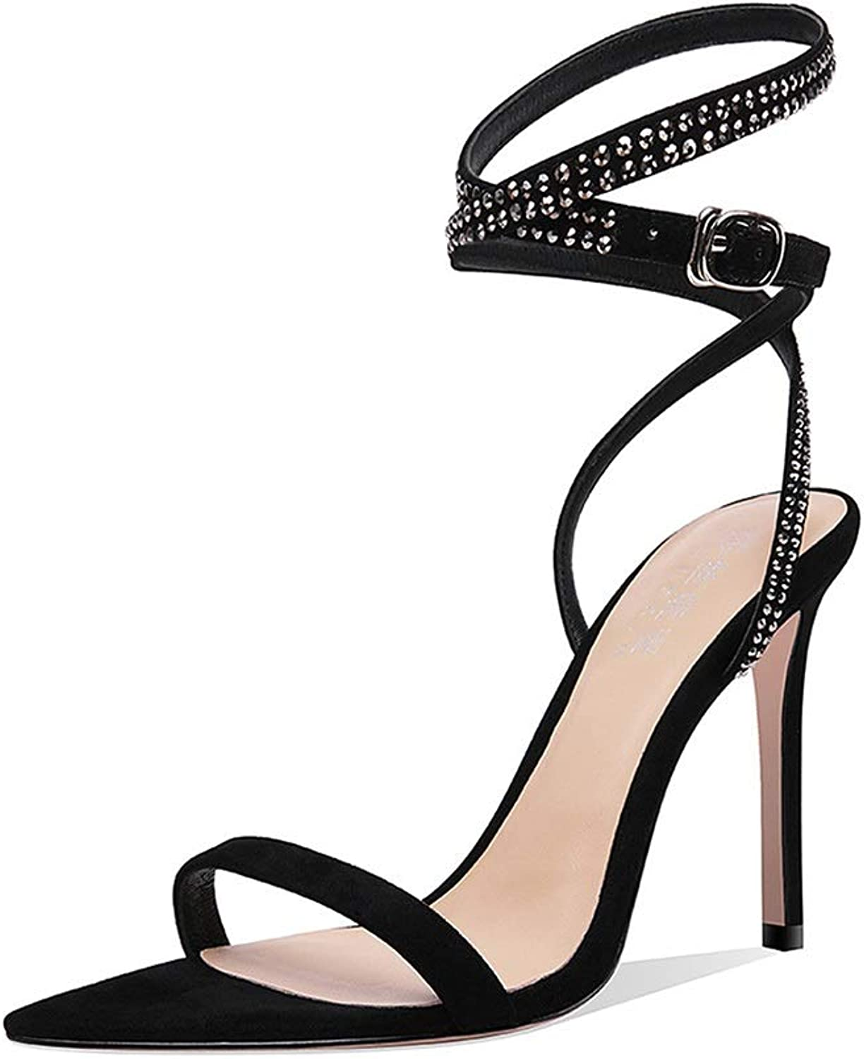 Sandals Heeled Sandals High Heels Summer Open Toe Stiletto Sandals Party Word with Women's shoes, with A Height of 9.5cm (color   Black, Size   34 US4-4.5)