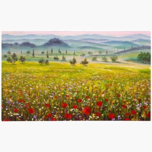 Fußmatte Türmatte Rot Artwork Grün Italienische Toskana Mohnblume Blume mit feinen Zypressen Landschaftsbilder Berge Maschinenwaschbare rutschfeste Matten Badezimmer Küche Dekor Bereich Teppich