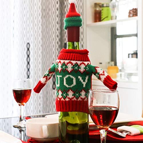 BZN Weihnachten Deer Pullover Cloth Artabendessen Tischdekoration Champagne Weinflasche Tasche, Körpergröße: 18cm x 13cm (Farbe : Color2)