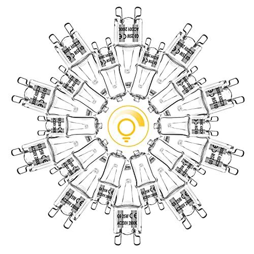 G9 Halogen 25W Dimmbar, Backofenlampe G9 Glühbirne für Ofen Mikrowellen, geeignet für hohe Temperaturen bis 300°C , Eande G9 Stiftsockellampe Halopin 230V 2800K Warmweiß 270 Lumen 99Ra 20er-Pack