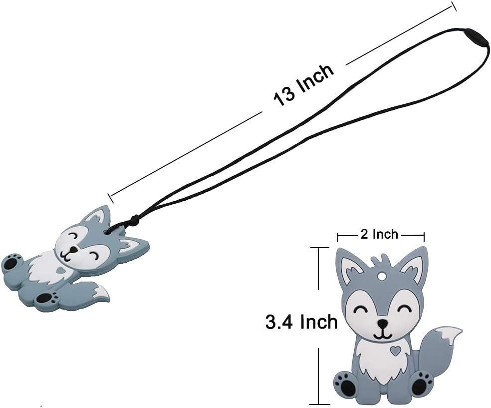ADHD Biting Chewing Foxy Sensory Motor Aids Teether Pendant Boys and Girls Blue Fox Chewable Necklace for Teething Autism SPD Sensory Chew Necklace for Kids