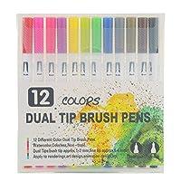 大人の塗り絵用ジェルペン、12本のダブルチップジェルペンセット、子供の描画メモ、弾丸日記の落書きに使用