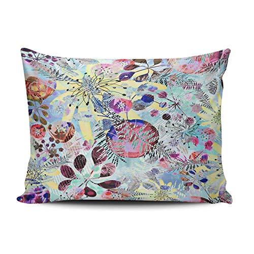 SUN DANCE Funda de almohada decorativa para dormitorio, diseño abstracto de flores coloridas, funda de cojín impresa por un lado, 50 x 60 cm