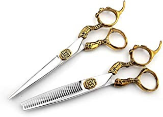 Professional Barber 6 Inch Hairdresser Professional Haircut Gold Luxury Flat Scissor + Tooth Shear Tools Set Scissors (Col...