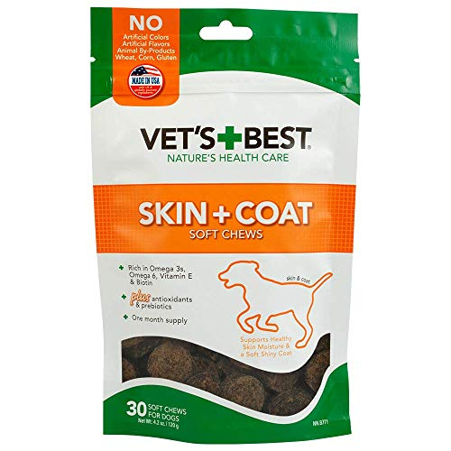 Vet s Best Skin & Coat Soft Chew Dog Supplements | Formulated with Vitamin E & Biotin To Maintain Dogs Healthy Skin & Coat | 30 Day Supply