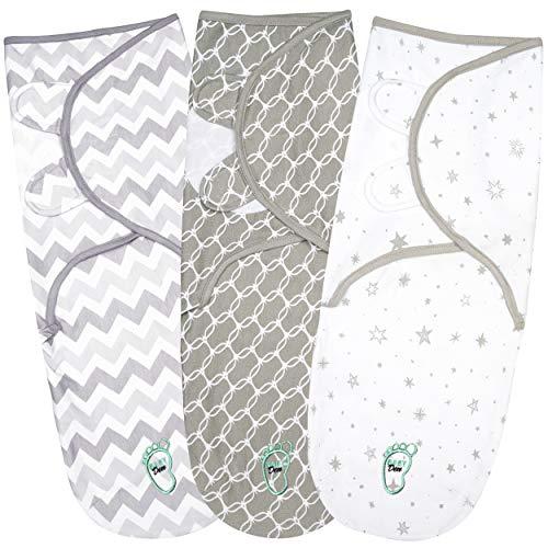 Baby Wickeldecke für Neugeborene & Säuglinge, 0-3 Monate, 100% atmungsaktive Baumwolle, Pucksack mit verstellbaren Flügeln, 3 Stück Einschlagdecken für Mädchenn und Jungen (Grey)