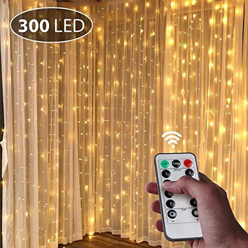 Lsdakoop LED Lichterkette Innen,3M*3M USB 300 LEDs String Light Vorhang Fernbedienung Wasserdicht für Innenbeleuchtung,Weihnacht Hochzeit, Party