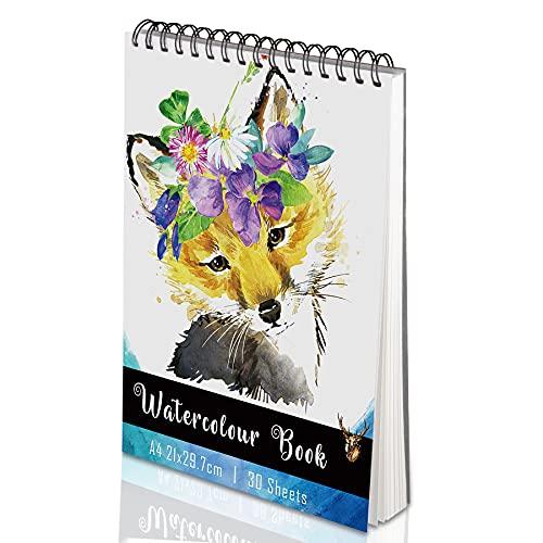 Yordawn Papel Acuarela Bloc Dibujo Acuarela A4 Cuaderno Dibujo Sketchbook con 30 Hojas Bloc de Dibujo para Niños Adultos Profesional Cuaderno a4 Cuaderno Acuarela para Pintura Dibujo