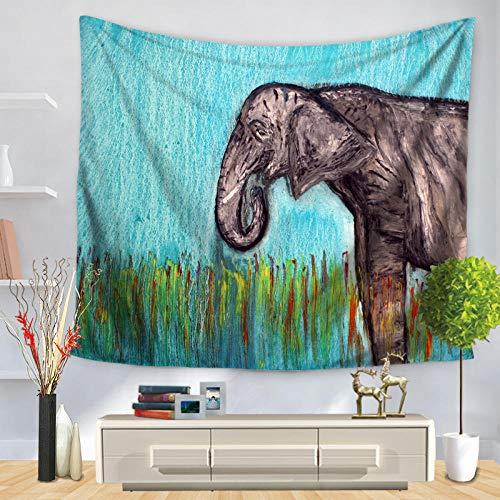 YUANOMWJ Tapiz De Pared,Animal Elefante De Hierba Verde Fresca, Ropa De Cama De Mandala De Pavo Real Psicodélico Bohemio Hippie Indio, 150X200Cm