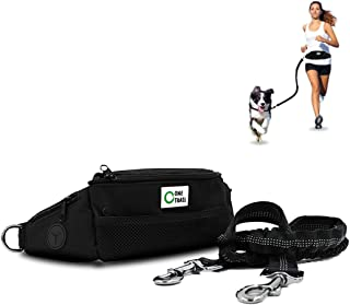 OneTrail Hands Free Dog Leash (Black) | Durable Bungee Leash with No-Bounce Pack | for Men & Women | Pouch Fits All Large Cell Phones | Fits up to 50