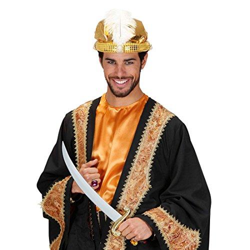 Amakando Chapeau Oriental Aladin Couvre-Chef Arabe cheikh Sultan Turban Accessoire doré avec Perles et Plume Coiffe Orientale faluche Occident Mille et Une Nuits Carnaval
