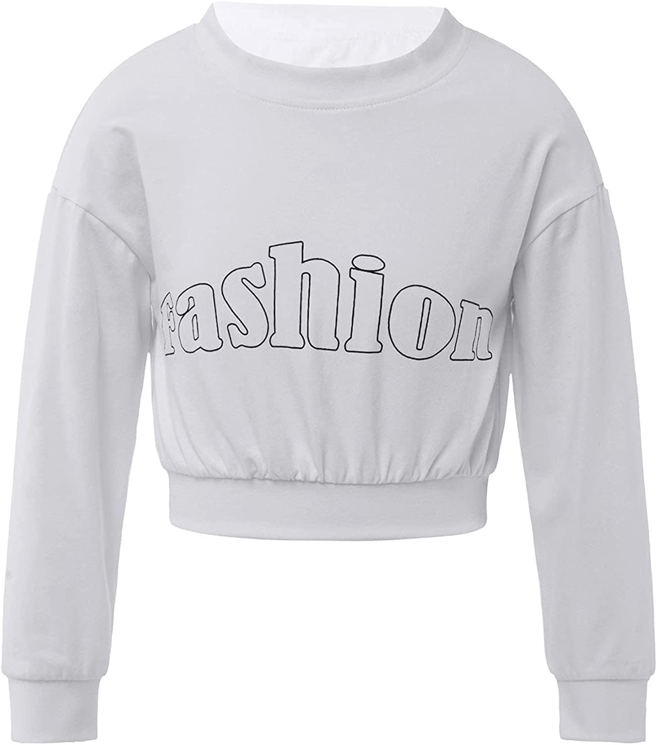Aiihoo Kids Girls Sporty Fitness Hip Hop Streets Pullover Crop Top Long Sleeves Letters Daily Activewear