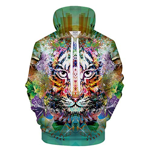Novelty Graphic Hoodies for Kids Teens Boys Girls, Unisex Cool Long Sleeves Pullover Hooded Sweatshirt 3D Digital Print Colorful Flowery Tiger Doodle Pattern Fashion Personality Outwear Big Pockets
