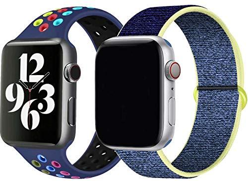 JONWIN 2-Pack Sportschlaufe Kompatibel mit Apple Watch Armband 44 mm 42 mm, Weiches Leichtes Atmungsaktives wasserdichtes Nylon Silikon Armband für die iWatch Serie 6/5/4/3/2/1,SE,M/L