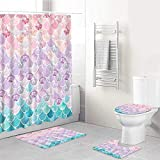 ECOMAOMI 4 Pcs Shower Curtain Sets with Non-Slip Rugs,Toilet Lid Cover and Bath Mat,3D Mermaid Scales Lilac Purple Pink Blue Ocean Theme,Shower Curtains with 12 Hooks,Durable Waterproof Bath Curtain