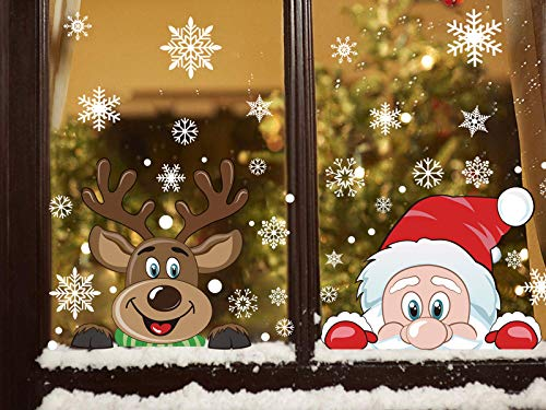 FINGOOO 74 pieces Peeping Santa and Rudolph- Christmas Window Cling Snowflake Decal Window Decoration, 6 Sheet (Peeping Santa Rudolph)