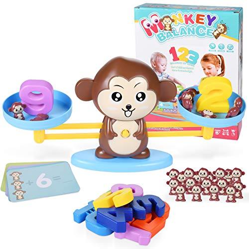 Funmo Balanza Digital De Mono,Juguete Animal Balanza,Monkey Balanza De Equilibrio,temprana Educación Digital Suma y resta Scales Toys para niños para desarrollar Inteligencia y coordinación Ojo-Mano