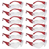 SAFE HANDLER Clear Lens Color Temple Safety Glasses - One Size, Adult, Youth, Clear Protective Polycarbonate Lens Color Temple, RED, 12 PAIRS
