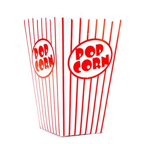 Tebery 100 Stück Popcorn Tüte,Papiertüten Partytüte Rot-Weiß Gestreift Größe:16 x 10 x 7cm