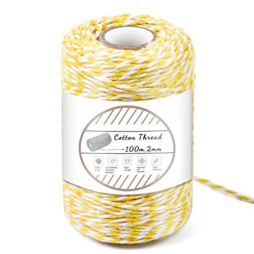 Yellow and White Cotton String, 100M/328 Feet Cotton Bakers Twine String, Cotton Cord, Gift Wrapping Twine for Baking, DIY Crafts, Home Decoration (2MM)