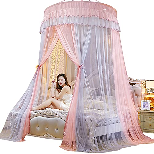 73FACAI Toldo de Cama Colgado Mosquitera Top Redondo Princesa Cama Tienda Cortina Toldo Plegable On The Bed Elegante Mosquitera de Encaje de Hadas,Pink