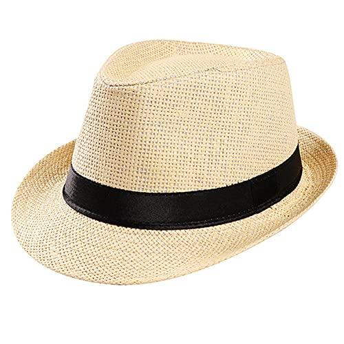 Sombrero de Paja para el Sol Unisex Trilby Cap BeachBandSombrero para el Sol Sombrero dePaja para Bodas Mujeres Hombres Gorra con Cinta Negra-a30