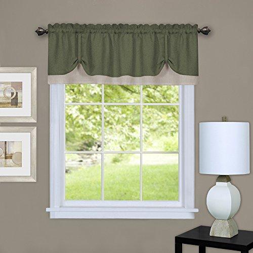 "Achim Home Furnishings Darcy Window Curtain Valance, Green & Camel, 58"" x 14"", Green/Camel"