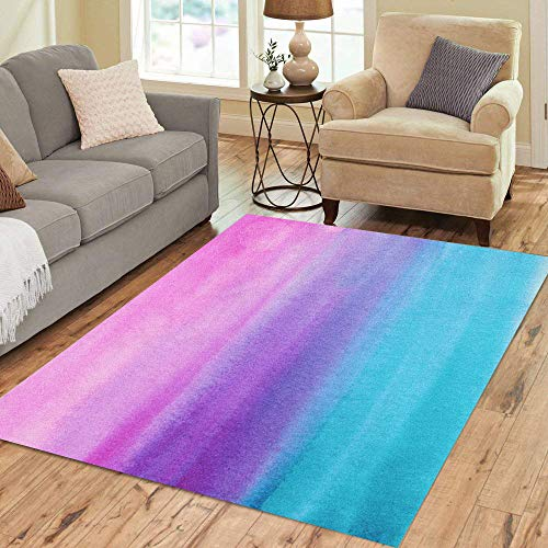 Pinbeam Area Rug Blue Ombre Abstract Watercolor Hand Pink Gradient Watercolour Home Decor Floor Rug 3' x 5' Carpet