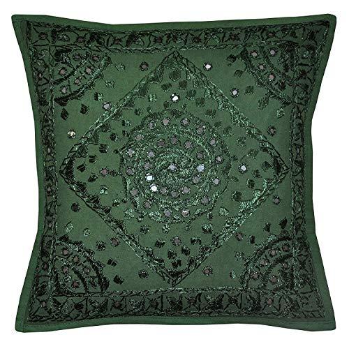 Radhykrishnafashions Indiaas - 16X16 Spiegel Geborduurd Decoratieve Sofa Gooi Kussen Cover Boho Bohemia