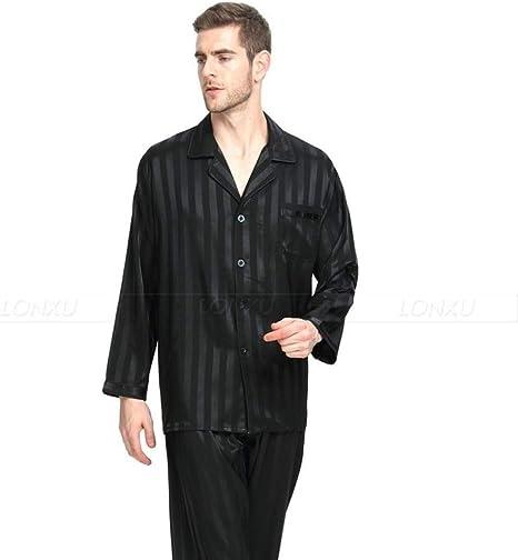 Handaxian Conjunto de Pijamas de satén de Seda para Hombres ...