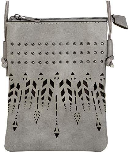 styleBREAKER Damen Mini Bag Umhängetasche Ethno Style und Nieten, Schultertasche, Handtasche,...