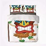 Juego de Funda nórdica Tiki Bar Decor Nice 3 Juegos de Cama, Hombre Nativo con máscara, ilustración, Disfraz Tribal de Dibujos Animados, Ritual primitivo, Decorativo para Sala de Estar