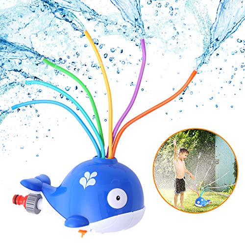 Herefun Juguete de Agua de Rociadores, Juguete de Rociadores de Ballenas Jardín de Verano Juguetes para Niños Giratorio de Spray de Agua para Actividades Familiares Aire Libre/Fiesta/Playa/Jardín
