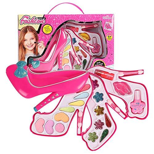 Schminkkoffer Kinder, Kinderkosmetik Make-up Box Spielzeug Set Mädchen Schmuck Spielhaus Schuhe Mit Hohen Absätzen Make-up Box Prinzessin Make-up Kit
