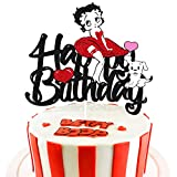 Girl Cake Topper for Betty-boop Theme happy Birthday Cake Decoration Sexy Girl Women Birthday Party Supplies [Double Sided]