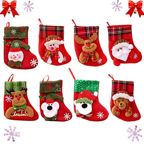 Sunshine smile 8 Stück nikolausstrumpf Set,Nikolaussocken,Weihnachtsbaum Socken, Nikolausstiefel Socken,weihnachtsstrumpf geschenktüte,Weihnachtsstrümpfe, Nikolausstiefel zum Aufhängen & Befüllen
