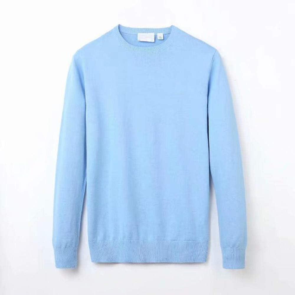 Winter Casual Men's Sweater O-Neck Striped Slim-Fit Sweater 100% Cotton Men's Sweater Pullover for Men-Sky Blue_M.
